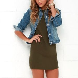 "Lulu's ""Shift and Shout"" Olive Green Shift Dress"